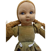 """Vintage 14"""" Felt Suede Cloth Doll Girl Tagged Foot"""
