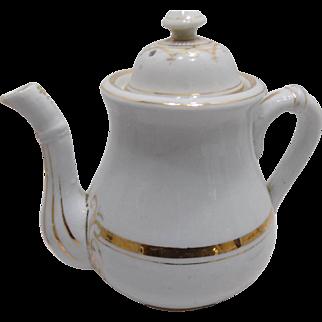 Old German Ironstone Porcelain Child's Doll Tea Set Gilded Gold Trim
