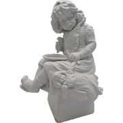 Old German Hertwig Heubach Figurine Girl Holding Doll