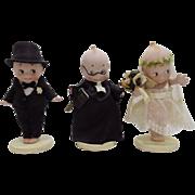 "Antique Rose O'Neill Bisque Kewpie Bride Groom Preacher 4 1/2"" tall  Perfect"