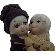 Antique Bisque Kewpie Doll Huggers Bride and Groom Japanese