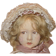 Antique Lenci Doll with Organdy Dress and Bonnet All Original Signed Foot