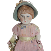 Antique German Doll All Bisque Molded Hair