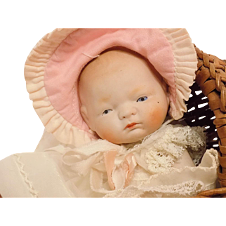 """Antique 5"""" All Bisque Bye-Lo Baby Doll w/Buggy CUTE!!!!!!!!!!!!!!!!"""