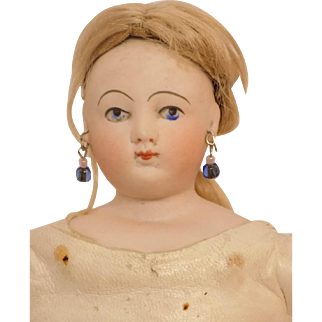 Antique FG Gaultier French Fashion Doll Painted Eye To Dress