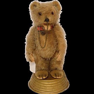 Antique Old Mohair German Straw-Stuffed Circus Bear w/ Music Box