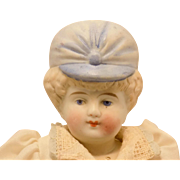 Antique German Blue Bonnet Head Doll Hertwig