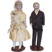 Antique German Doll House Bride and Groom Doll Dolls Original Clothes