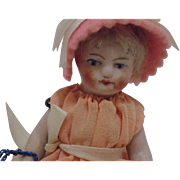 Antique German All Bisque Doll Painted Eyes Old Clothes CUTE