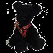 CUTE!! Vintage Jointed Rabbit Fur Bear Black