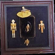 Tiny  Antique and Artist Grodnertal Dolls Doll w/Frame 5 Dolls
