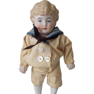 Antique German All Bisque Boy Doll Molded Hair Sailor