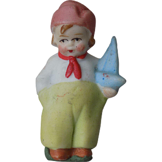 "Tiny 1 1/2"" German All Bisque Boy doll w/ Sailboat CUTE"