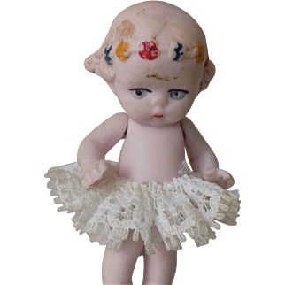 """CUTE 2"""" German All Bisque Doll Molded Flowers Tiny"""