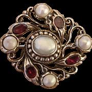 Incredibly RARE Antique 1860-1880 Quahog Pearl & Single Cut Garnet Silver Victorian Brooch !
