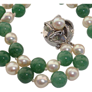 Beautiful Jadeite & Japanese Akoya Cultured Pearls Sterling Vintage Bracelet