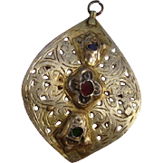 """Antique Large 3"""" Moroccan Sterling Silver & Glass Pierced Pendant"""