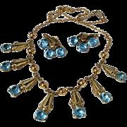 Exquisite Vintage AMCO Demi Parure 12K & 10K GF Necklace & Earrings Set