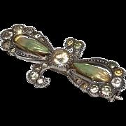 Antique Art Nouveau Iridescent Enamel Flower & Sterling Silver Brooch