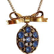 Wonderful Bow & Locket Sparkling Blue, White Paste Gilded Brooch / Pendant Necklace
