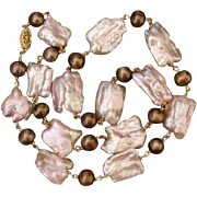 """Luscious Large 22mm Lavender Pink & Bronze Cultured Pearls 20.75"""" Necklace"""