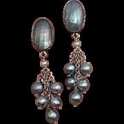 """Amazing Blue Akoya & Nautilus 2.65"""" Cultured Pearls & Sterling Vintage Earrings !"""