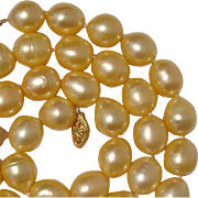 """Gorgeous Golden South Sea Cultured Pearls & 14K Gold 21.5"""" Necklace !"""