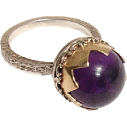 Fabulous 12mm Amethyst Sphere, 14K Gold & Sterling Antique Hallmarked Ring - Size 6