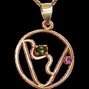 Stunning Green Tourmaline & Amethyst Vermeil Gold over Sterling Vintage Pendant - Artist Signed