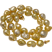 """Incredible Luster !  AAA+ Golden South Sea LARGE 16mm Baroque 18"""" Pearl Necklace - Thick Nacre !"""