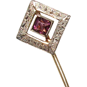 Victorian 12K & 10K Gold Amethyst Paste Antique Stick / Hat Pin