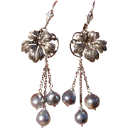 "Blue Akoya 2.6"" Pearls Grape Leaves & Sterling Vintage Japanese Earrings--Converted to Lever Backs !"