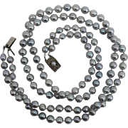 "EXQUISITE Japanese Salt Water SILVERY BLUE Baroque Cultured Pearls, Sterling : 20.5"" Necklace !"