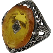 Very Unusual Amber & Black Diamond Art Deco Sterling Ring - Antique, Size 6