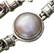 "Beautiful Cultured Pink Mabe Pearl Sterling Silver 7.65"" Bracelet"