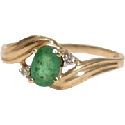Beautiful Emerald & Diamond Vintage Artist Signed Ring - 10K Yellow Gold, Size 7.25