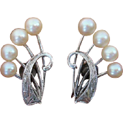 Mikimoto Akoya Cultured Pearls Sterling Earrings - Converted to Clip Ons !