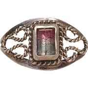 Lovely Watermelon Tourmaline & Sterling Silver Vintage Ring - Signed, Size 6.25