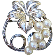 Fabulous MIKIMOTO Grapes Akoya Cultured Pearl Sterling Brooch - 1940's - 50's