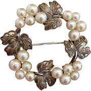 "Exquisite Scarce Mikimoto Akoya Pearls ""Grapes & Grape Leaves"" Vintage Sterling Brooch, c. 1935 !"