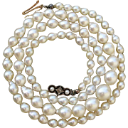 Luscious Luster ! Diamond & Salt Water Cultured Pearls 14K Gold Necklace -c. 1910