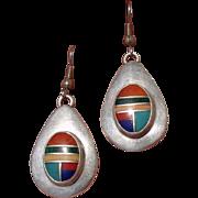 "Vintage 3"" Navajo Joe Moquino Native American Sterling Earrings - Signed"