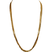 "Sleek & Stylish ! Long 20"" Italian Seven Chains Gold Over Sterling Vintage Vermeil Necklace - Hallmarked"