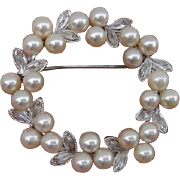 Beautiful Japanese Akoya Cultured Pearls & Sterling Vintage Brooch