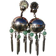 "BIG & Fabulously Funky Jadeite & Paua Dangly 3.25"" Vintage Clip Earrings"