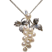 Beautiful Japanese Grapes Akoya Cultured Pearls & Sterling Vintage Brooch / Pendant