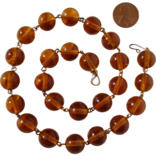 "Vintage 10K Honey Amber 18"" Pools of Light Golden Glass Beads Necklace"
