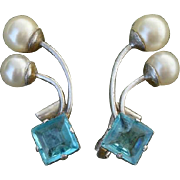 Gorgeous Vintage Blue Topaz Glass & Faux Pearl Sterling Earrings - Clip Ons