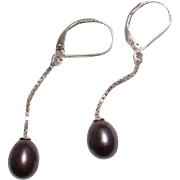 Lovely Aubergine Tahitian Cultured Pearls Lever Back Sterling Vintage Earrings
