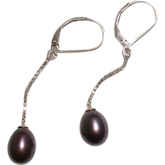 Lovely Aubergine Tahitian Cultured Pearls Lever Back Sterling Vintage Earrings